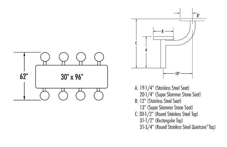 Belson | CloserLook | Model EMX9633 8SGTBTS 8 Foot Rectangular Table  Dimensions