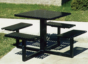 Model EST | English Series Square Powder-Coated Steel Table (Black)