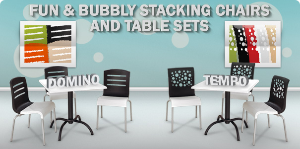 Fun and Bubbly Stacking Chairs and Table Sets | Domino and Tempo