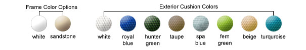 Frame Color Options, Exterior Cusion Colors