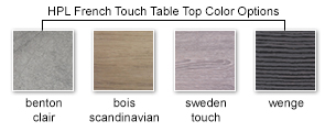HPL French Touch Table Top Color Options
