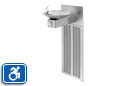 Haws H1001.8 | Wall Mounted ADA Refrigerated Water Drinking Fountain with Satin Stainless Steel Bowl on Square Arm with Grille and Back Panel