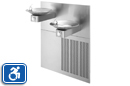 Haws H1011.8 | Hi-Lo Refrigerated Water Drinking Fountain with Two Satin Stainless Steel Bowls, Grille and Back Panel | ADA Accessible