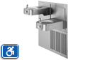 Haws H1117.8 | Wall Mounted Stainless Steel Hi-Lo Adjustable Refrigerated Water Fountain with Back Panel and Grille