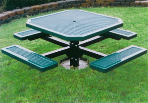 Model H46-I | Octagon Outdoor Table | Punched Steel Style (Green/Black)