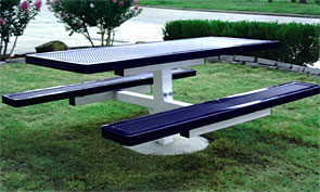 Model H6-I | Rectangular Picnic Tables | Punched Steel Style (Mariner/White)