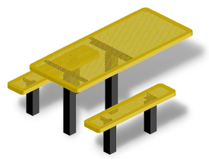 Model H6H-IP | Rectangular Outdoor Table | Punched Steel Style (Yellow/Black)
