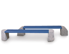 Model HCBM | Powder-Coated Steel Benches with Concrete Ends