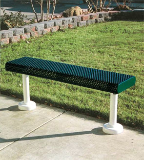 Model HR4NB-S | Innovated Rolled Style | Thermoplastic Park Benches (Green/Clay)