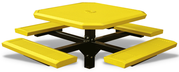 Model HSL46-I | Perforated Octagon Pedestal Style Picnic Tables (Yellow/Black)