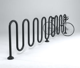 Model HW238-17-SF-P w/GC-238 | 15 Loops 17 Bikes Winder Wave Bike Rack (Black)