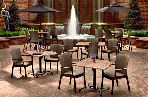 Commercial Bar Height Outdoor Furniture Set. Havana Resin Tables And Chairs  With Wicker Finish Collection