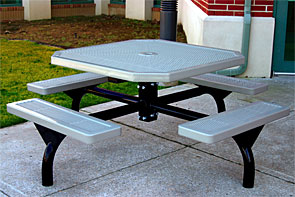 "Model JH46-I | 46"" Octagonal Thermoplastic Table - 4 Attached Seats - In-ground Mount (Gray)"