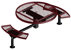 Model JR46R-S | Outdoor Round Table | Span Style (Burgundy/Black)