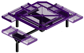 Model JRR4683-I | Octagonal Commercial Picnic Table | Span Style (Purple/Black)