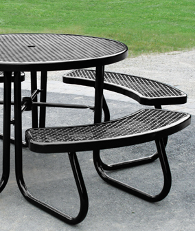 Round Portable Powder-Coated Steel Picnic Table with Umbrella Hole