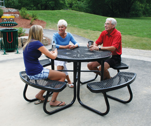Model JXR 4PE | Round Portable Picnic Table With Umbrella Hole