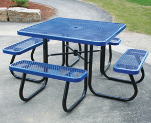 Square Picnic Table With Umbrella Hole Belson Outdoors - Commercial table umbrellas