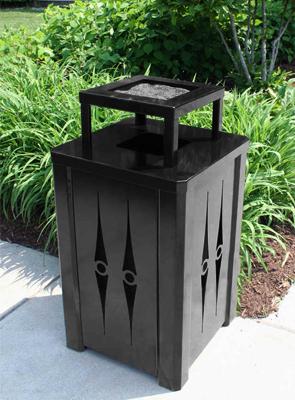 model kcms32 at 32 gallon decorative square trash receptacle black - Decorative Trash Cans