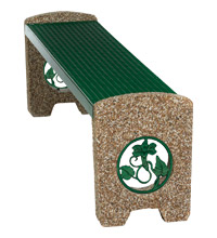 Model KTSXBEN6 | Thermoplastic and Aggregate Flat Park Bench with Knockout Inserts (Evergreen/River Rock Aggregate)