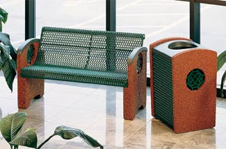 Model KTSXCBEN4 | Thermoplastic & Aggregate Park Bench with Knockout Octagon Inserts (Evergreen/Alpine Red)