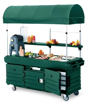 Model KVC854C | CamKiosk® Portable Sink w/4 Pan Wells & Canopy (Kentuckey Green)