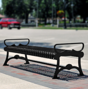 Model LB72WOB | Lemars Series Backless Ribbed Steel Outdoor Bench (Black)