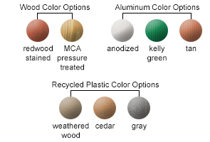 Wood Color Options, Aluminum Color Options, Recycled Plastic Color Options