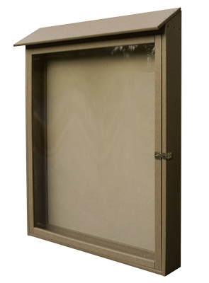 Model N1-133242224 | Recyclable Vertical Message Center with Single Swing Door (Sand)