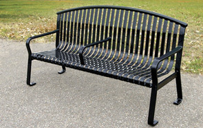 Model MF2204 | Metal-Armor Coated Steel Bench with Center Arm (Black)
