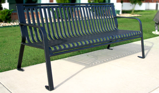Model MS6WB P | Thermoplastic Coated Victorian 6 Ft. Bench (Black)