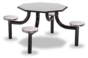 "Model MX4040-4LPTBTSS | 40"" Octagon Lunchroom Table (Laminate Titanium Evolve/Stainless Steel)"