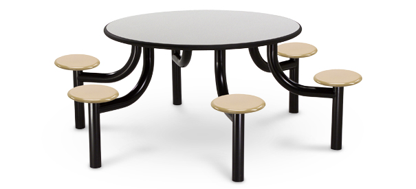 "Model MX5400-6LPTBT | 54"" Round Lunchroom Table (Laminate Titanium Evolve/Golden Wheat)"
