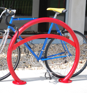 Model ORN-LB-2-SF-P | Orion Bike Rack with Round Tubing and Lean Bar (Red)