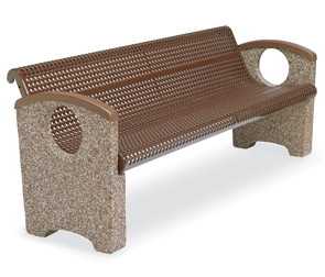 Model OTSPCBEN6 | Thermoplastic and Aggregate Park Bench with Round Knockouts (Perforated Brown Seat/River Rock Aggregate)