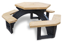 Curved And Straight Mesa Benches Recycled Plastic