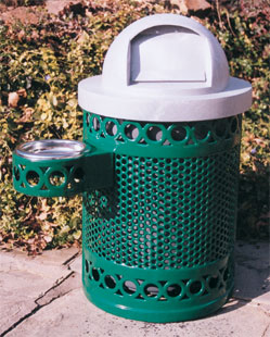 Model P32DR | Thermoplastic Trash Receptacle | Decorative Perforated Steel (Green/Gray)