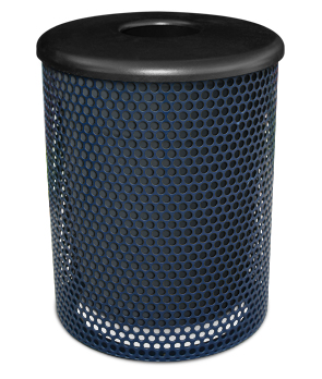 Model P32TR | Thermoplastic Trash Receptacles | Perforated Steel (Mystic)