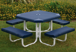 Model P468-P | Octagon Outdoor Table | Punched Rolled Style (Mariner/White)