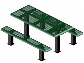 Model P6-IPS | Rectangular Outdoor Tables | Perforated Metal Style (Green/Black)