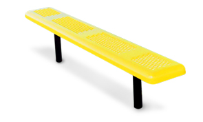 Model P6NB-I | Perforated Thermoplastic Coated Outdoor Benches (Yellow/Black)