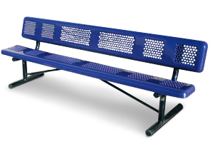 Model P8WB-P | Perforated Thermoplastic Coated Outdoor Benches (Mariner/Black)