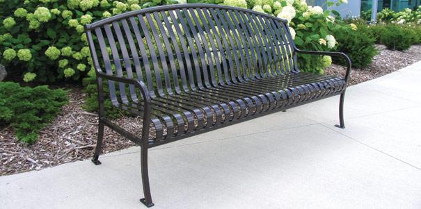 Premier arched patio bench metal park benches belson for Metal benches for outdoors