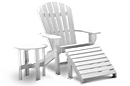 Seaside Commercial Grade Recycled Plastic Adirondack Chair with Ottoman