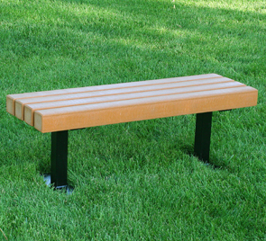 Model PB4 TRA | Recycled Plastic Backless Bench (Cedar)