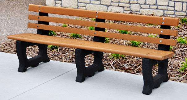 Model PB6-BROOK | 6' Brooklyn Recycled Plastic Outdoor Bench (Cedar/Black)