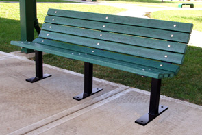 Model PB6-CON | 6' Recycled Plastic Contoured Bench (Green)