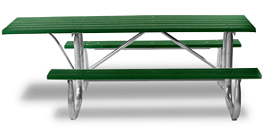 Model PB6-GFPICADA | Recycled Plastic Picnic Tables with Galvanized Frame (Green)