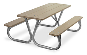 Model PC-6PWW | Park Chief 6ft. Recycled Plastic Picnic Table (Weathered Wood)