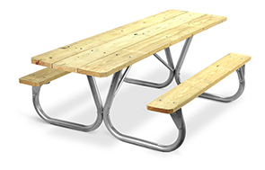 Model PC-HWA | Park Chief 8ft. MCA Pressure Treated Picnic Table with Galvanized Frame